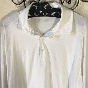 Bonobos Shirts - Bonobos Unisex White Collared Polo Long Sleeve Top